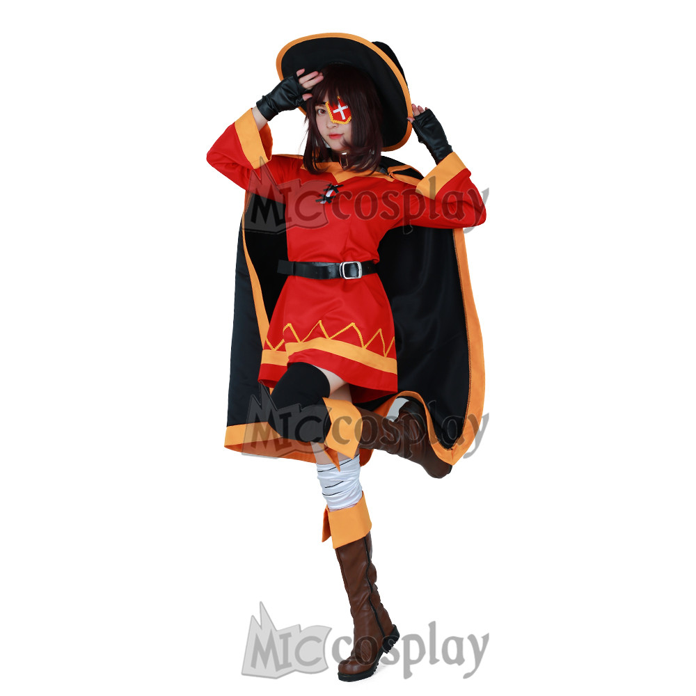 KonoSuba Megumin Halloween Costume Anime God's Blessing on this Wonderful World Cosplay Costume for Women Adults