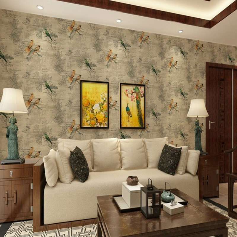Free Shipping Retro Nostalgic Wallpaper Classical Flower Birds Bedroom Wallpaper Pastoral Living Room Restaurant wallpaper free shipping chinese ink classical retro wallpaper mural living room tv room wallpaper