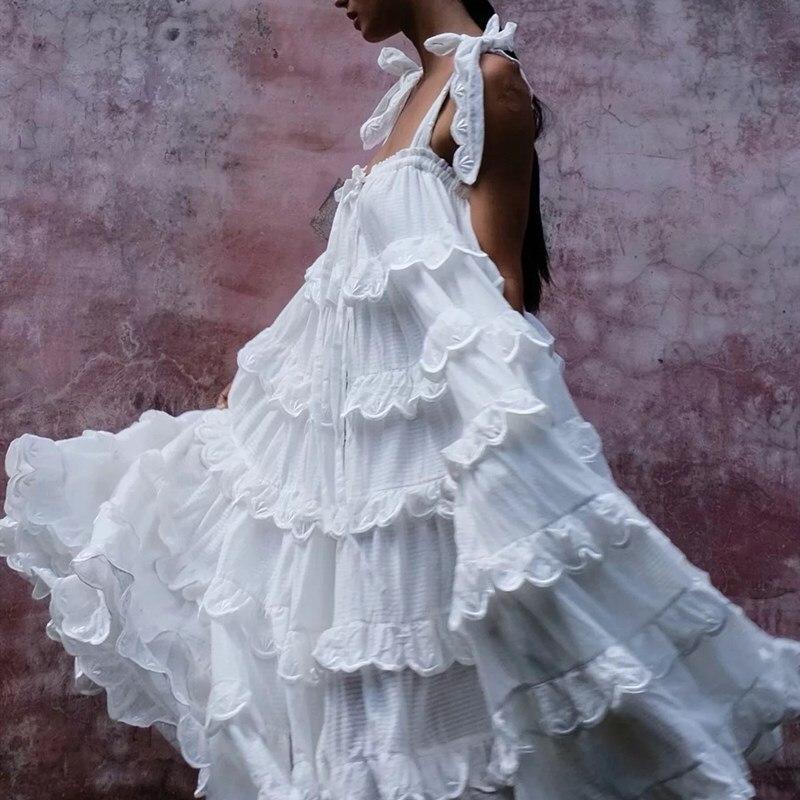 Stitching Lace Ruffles Tide Bow Spaghetti Strap Dress Ethnic Woman Big Swing Cake Dress Beach Wear Pleated Maxi Dress