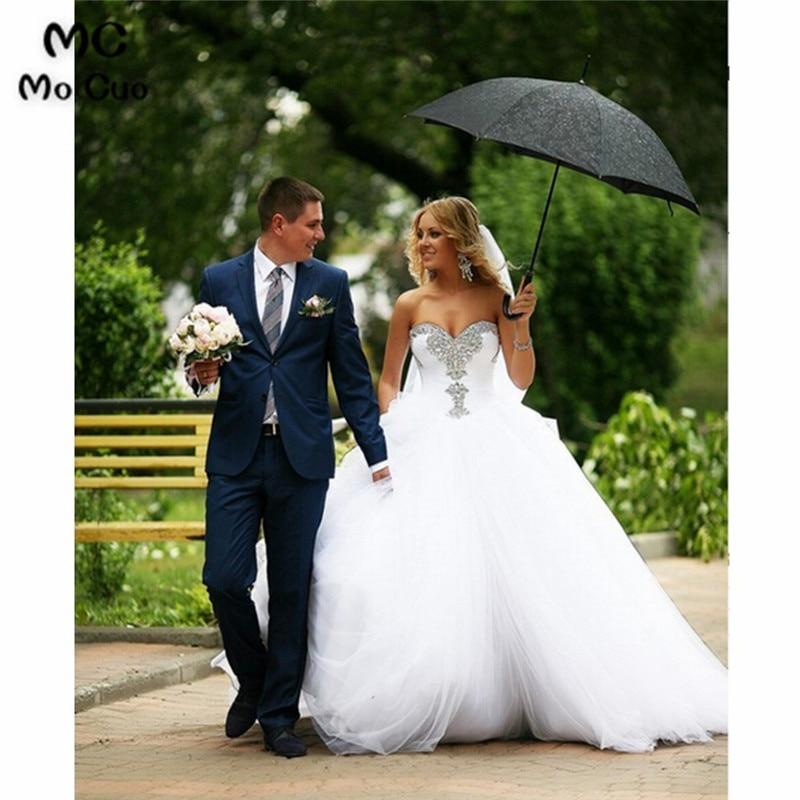 Puffy 2018 Luxuries Bridal Gowns Sweethert Crystals Beaded Tulle Wedding Dresses Vestido De Noiva women Wedding dress