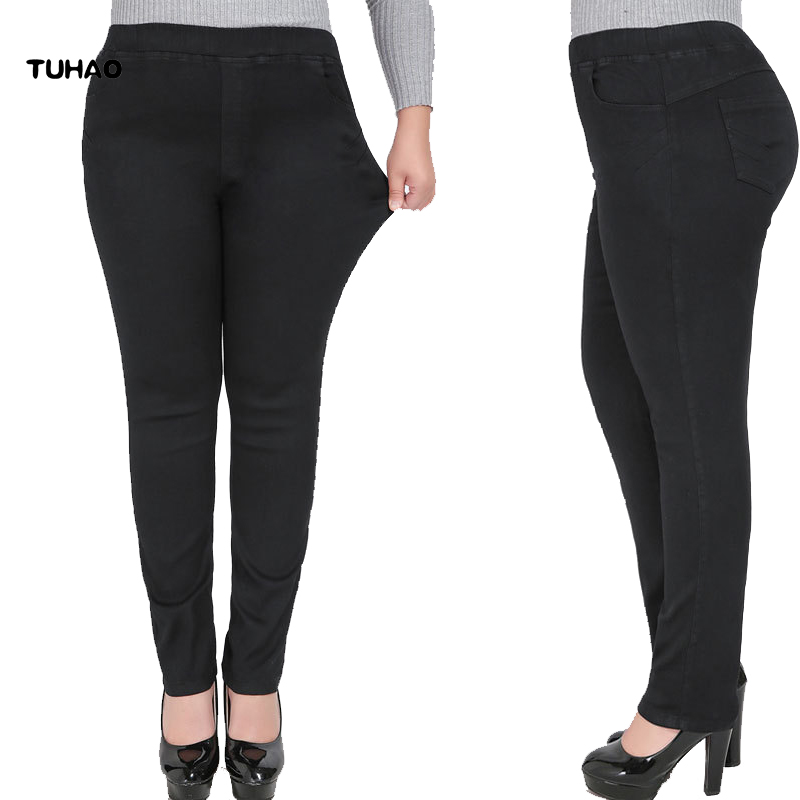 TUHAO   Jeans   Woman High Waist 9XL 8XL 7XL 6XL Plus Size Skinny   Jeans   Femme Stretch Women Elasticated Female Denim Trousers YHFS