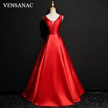 VENSANAC 2018 Illusion Crystal V Neck Satin A Line Long Evening Dresses Elegant Party Lace Sash Backless Prom Gowns