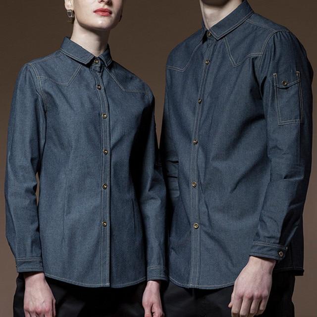 Poly Cotton Blue Long Sleeve Shirt Hotel Restaurant Waiter Waitress Kitchen Uniform Barista Bistro Baker Catering Work Wear D45