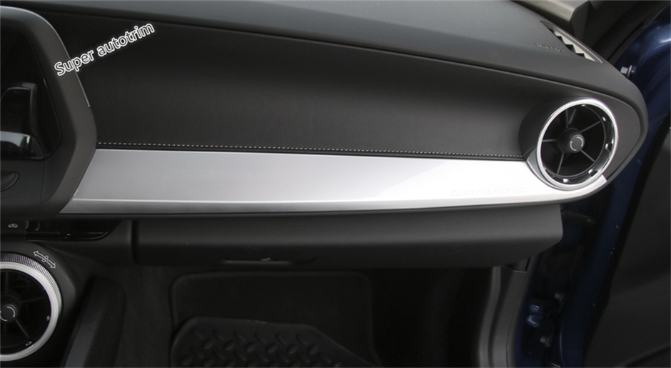 3 Color For Choice ! For Chevrolet Camaro 2016 2017 2018 ABS The Co-pilot Central Frame Decoration Panel Strip Cover Trim 1 Pcs accessories for chevrolet camaro 2016 2017 abs carbon fiber style the co pilot central control strip molding cover kit trim page 7
