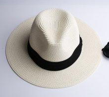 1ff4bb79da8e5 LNPBD Summer fashion white flat brim wide brim women s strawhat women s  jazz fedoras hat sun-