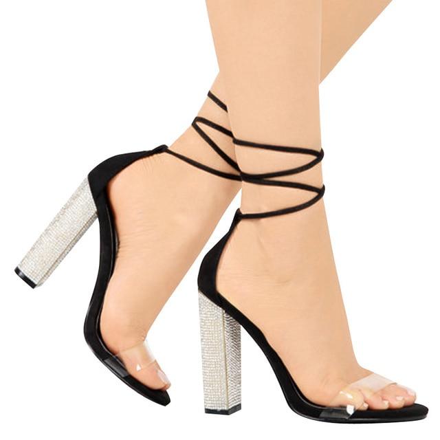 Big size 34-43 Women Heeled Sandals Bandage Rhinestone Ankle Strap Pumps Super High Heels 11 CM Square Heels Lady Shoes new #265 1