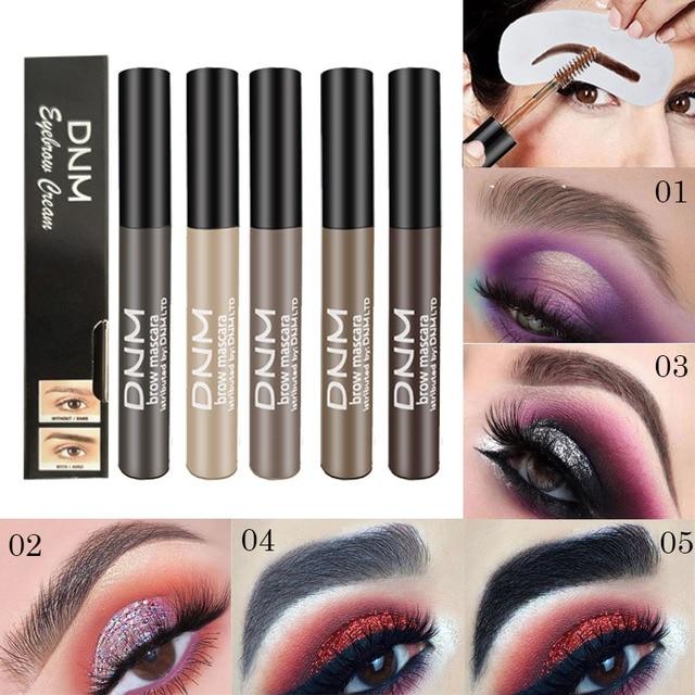 Waterproof Long Lasting Henna Eyebrow Gel Paint 5 Color Natural Black Brown Brow Enhancers Liquid Eyebrow Tint Makeup Cheap 2019 2