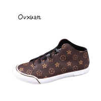 OVXUAN Luxury Brand snowflake Printed PU Leather Mens Shoes sneakers men Flats Comfortable High Top Casual Loafers Shoes For Men