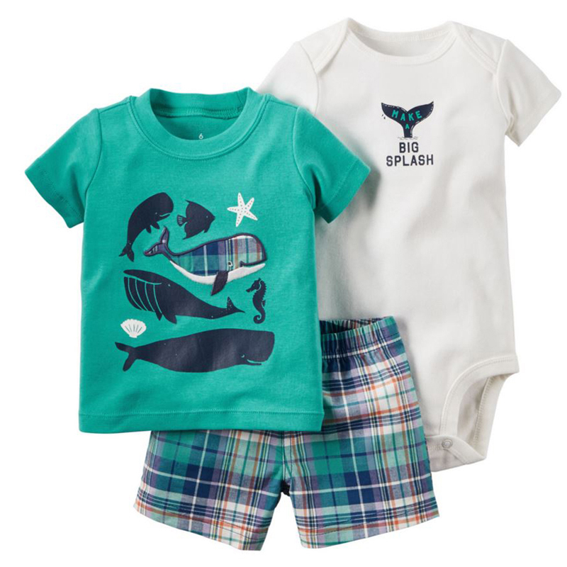 summer newborn baby boy clothes animal print t-shirt tops+rompers+shorts outfit infant clothing set new born babies suit cotton