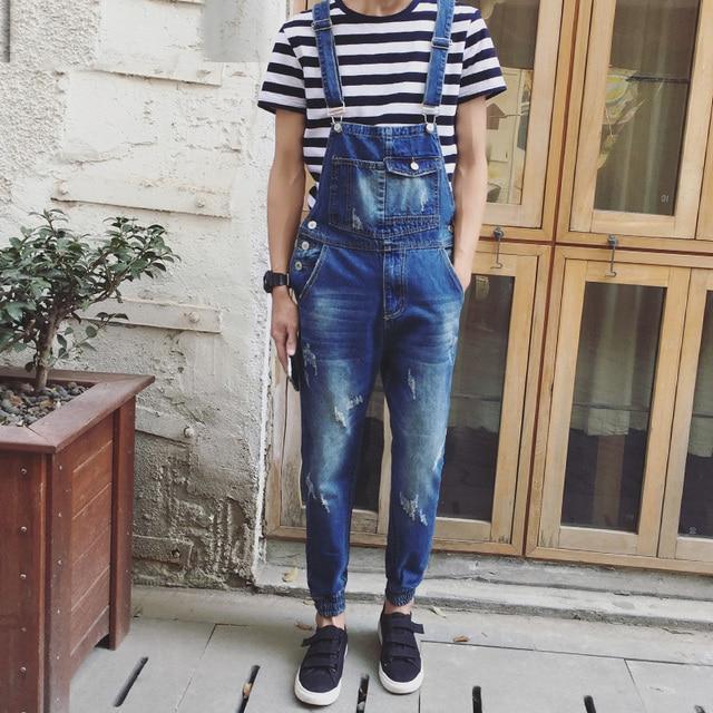 Japanese Style Mens Cotton Jeans Bib Overalls Fashion Blue Slim Fit Denim Overalls  Men One Piece Denim Jumpsuit Long Pants XXXL 944013f75b4