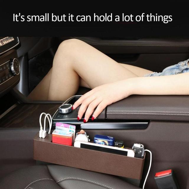 Car Seat Organizer Box Caddy Slit Gap Pocket Storage Phone Books Holder Cards Organizer 2USB Port Charger Car Replacement