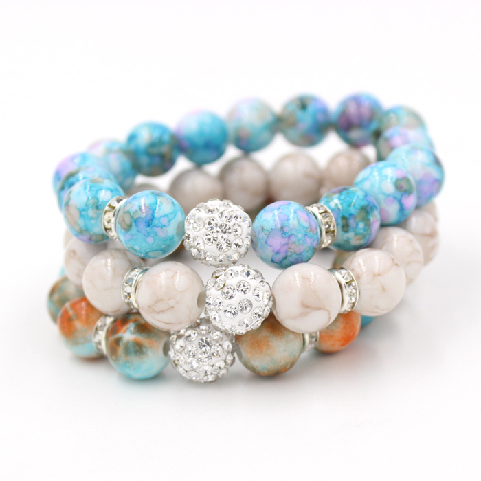 1pc Free Shipping Stretch Beaded Bracelets 12mm Round With Disco Bling Crystal Ball Flexiable In Strand From Jewelry