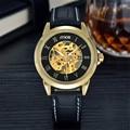 MCE Luxury men's watch Full Stainless Steel skeleton watch High quality brown leather Mechanical Watch waterproof clock men