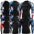 De manga comprida de pele protetor do prurido completo gráficos compressão camisas multi-uso Fitness GYM MMA Crossfit correndo Sports Tops camisas