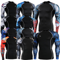 Long Sleeve Skin Rash Guard Complete Graphic Compression Shirts Multi-use Fitness GYM MMA Crossfit Running Sports Tops Shirts