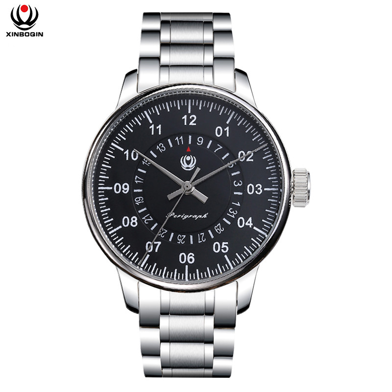 XINBOQIN Men Mechanical Wristwatches Stainless Steel Strap Watches Luxury Brand Waterproof Business Mechanical Watch 3025 цена 2017
