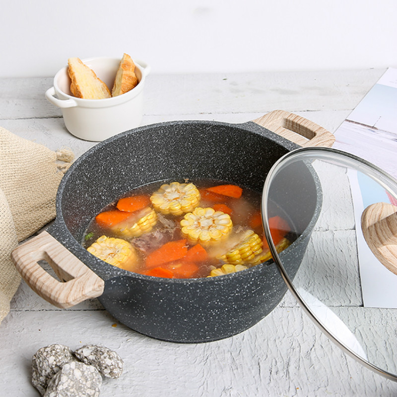 24cm soup pot steaming non stick stew household cooking pot braised meat gas fired electromagnetic furnace application cookware-in Soup & Stock Pots from Home & Garden    2