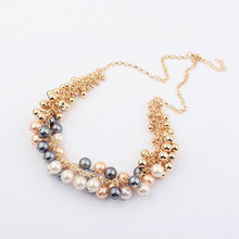 Match-Right 2015 New Hot Sell Simulated Pearl Jewelry Trendy Women Necklaces & Pendants  Short Chokers Statement Necklace