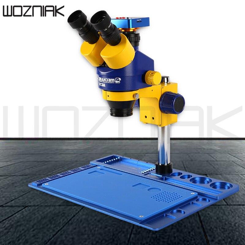Возняк Тринокулярный стереомикроскоп 7X 45X или 14X 180X внешний Экран Дисплей MC75T B1 непрерывное Масштабирование 56 светодиодный свет