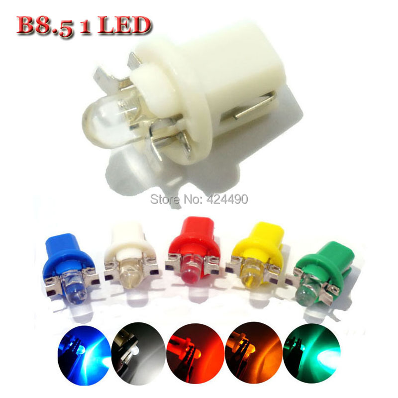 AORUNYEBAO 10pcs Led T5 B8.5 B8.5D Smd 1 Led Auto Wedge Led Dashboard Indicator Light  DC 12V White Yellow Red Green Blue Lamps