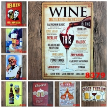 Beer Wine Cheers Retro Metal Signs Vintage Drink Tin Plaque Bar Pub Club Home Wall Decorative Art Painting Iron Plate YN023