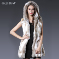 2016 Genuine Rabbit Fur Vest Hooded Rabbit Fur Gilet Winter Real Fur Jacket For Women Fashion Real Rabbit Fur Coats Sleeveless