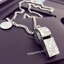 Marca de Plata silbato collar colgante de cristal collar silbato silbato de plata ronda diseño collar largo femenino
