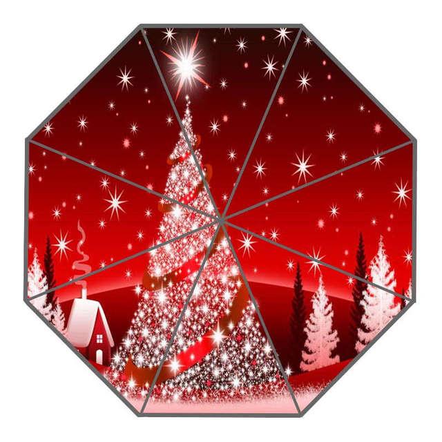 Mooie Kerstboom Paraplu Custom Zonnige En Regenachtige Paraplu