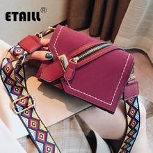 ETAILL модная дизайнерская сумка из нубука на молнии с цветным широким ремешком, квадратная сумка через плечо, трендовая сумка на плечо