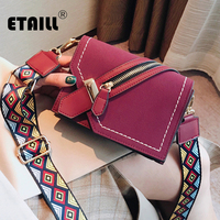 ETAILL Fashion Zipper Design Nubuck Leather Bag Colored Wide Strap Flap Square Crossbody Bag Trend Scrub Shoulder Messenger Bag