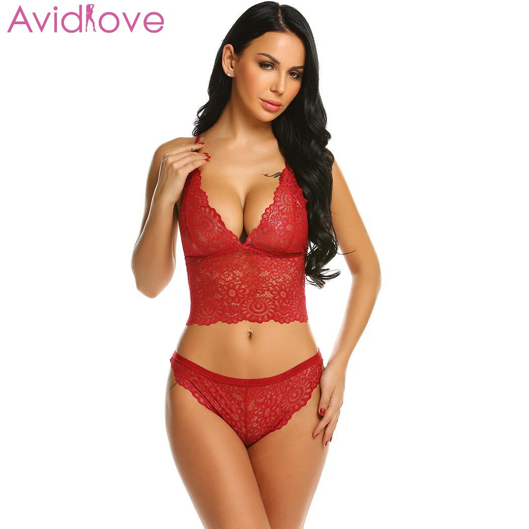 Avidlove Women Sexy Hollow Lace Floral Lingerie Sets Erotic Nightwear Nighty Costumes Hot Clothes Set Bra with G String 3