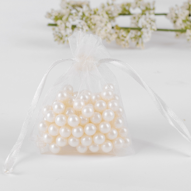 9x12cm White Organza Jewelry Bags Gift Tulle Favor Sachet Customed Logo Printed 500pcs