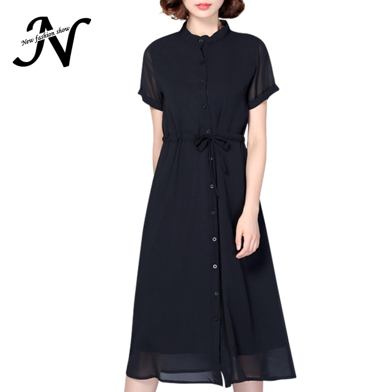Online buy wholesale black midi dress from china black for Midi shirt dress black