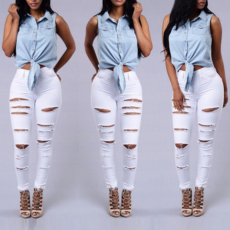 Summer Style White Hole Cool Denim High Waist Pants Capris Female Skinny Black Casual   Jeans   Ripped   Jeans   Women