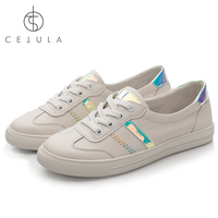 @Cetula 2018 Handcrafted Z Stitching Lace up Fancy Mint Glass Side Stripes&Counter Casual Smooth Calfskin Women Flat Sneakers
