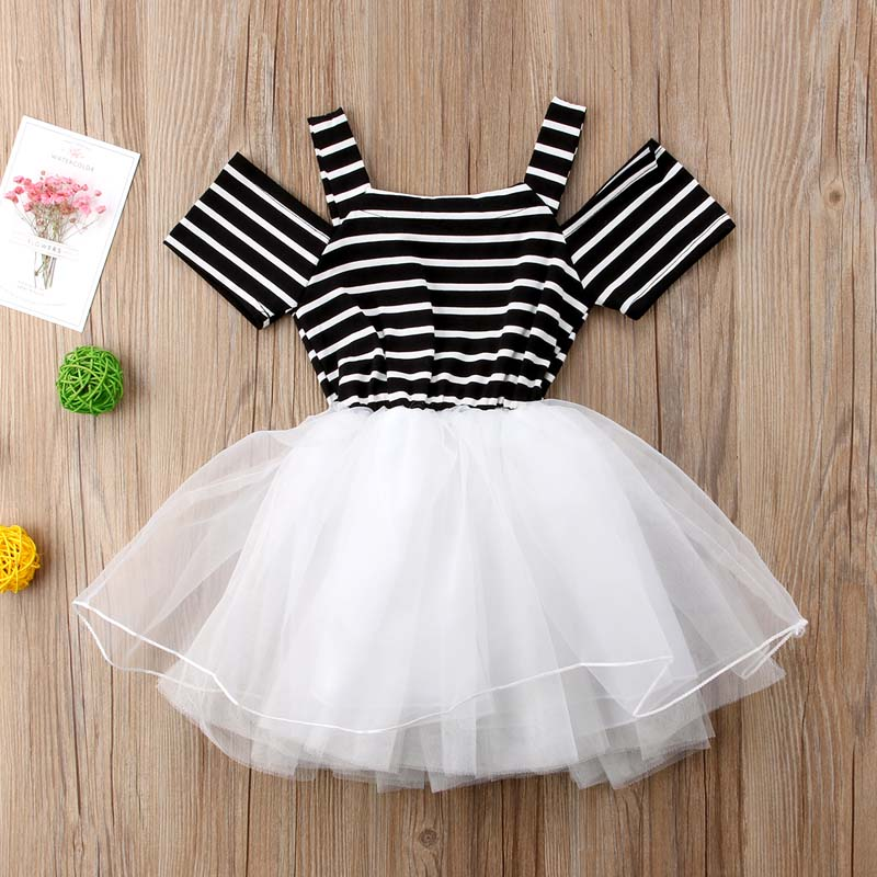 Toddler Baby Girls Princess Off Shoulder Dress Pageant Party Wedding Tutu  Dressy Baby Formal Striped Clothes Z1-in Dresses from Mother   Kids on ... 72728266ad93
