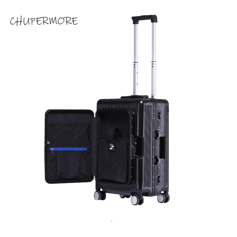 100% all aluminum frame Flip top computer bag essential for boarding travel Rolling Luggage Spinner High capacity brand Suitcase-in Rolling Luggage from Luggage & Bags    1