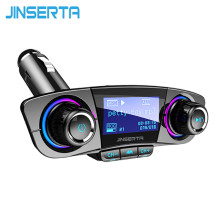 Jinserta FM Transmitter AUX Modulator Bluetooth 5.0 Handsfree Mobil Kit Audio Mobil MP3 Player W/Smart Charge Dual USB charger Mobil(China)