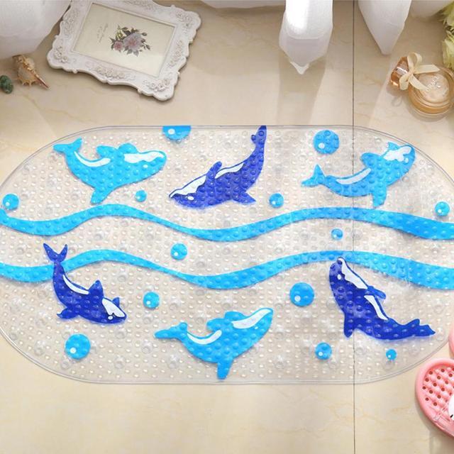 Cartoon Dolphin PVC Bath Mat Anti-Slip Bath Mats Suitable For Car Bathroom Toilet Foyer Floor Carpet