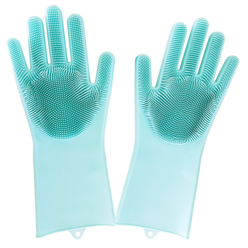 1Pair Magic Silicone Rubber Dish Washing Gloves Dishes Flexible Comfortable Scrubber Cleaning Long