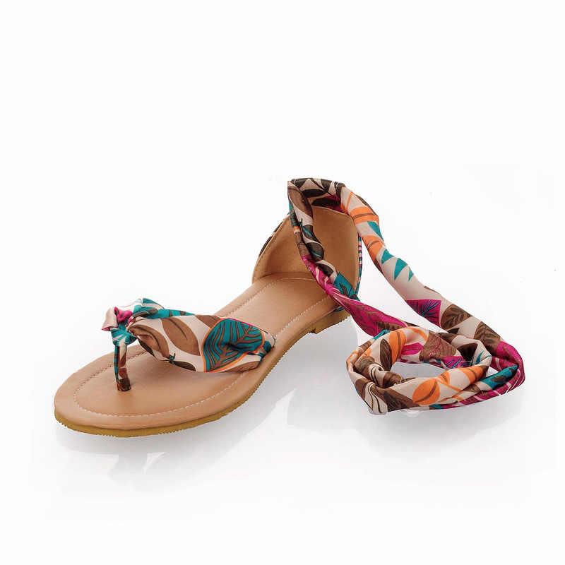 Kadın sandalet yaz ayakkabı artı Size34-52 düz plaj sandaletleri Flip Flop rahat şerit ayak bileği kayışı Bohemia gladyatör roma sandalet
