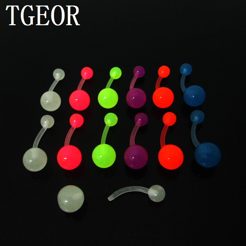 free shipping 1 Pair 14G glow in the dark navel piercing colors stainless steel and acrylic belly button ring