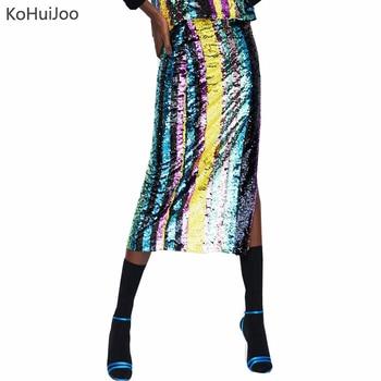 KoHuiJoo 2018 Women Sequin Skirt Fashion Side Slit Vertical Streipe Long Pencil Skirts Ladies Streetwear  Sexy Party Skirt Юбка