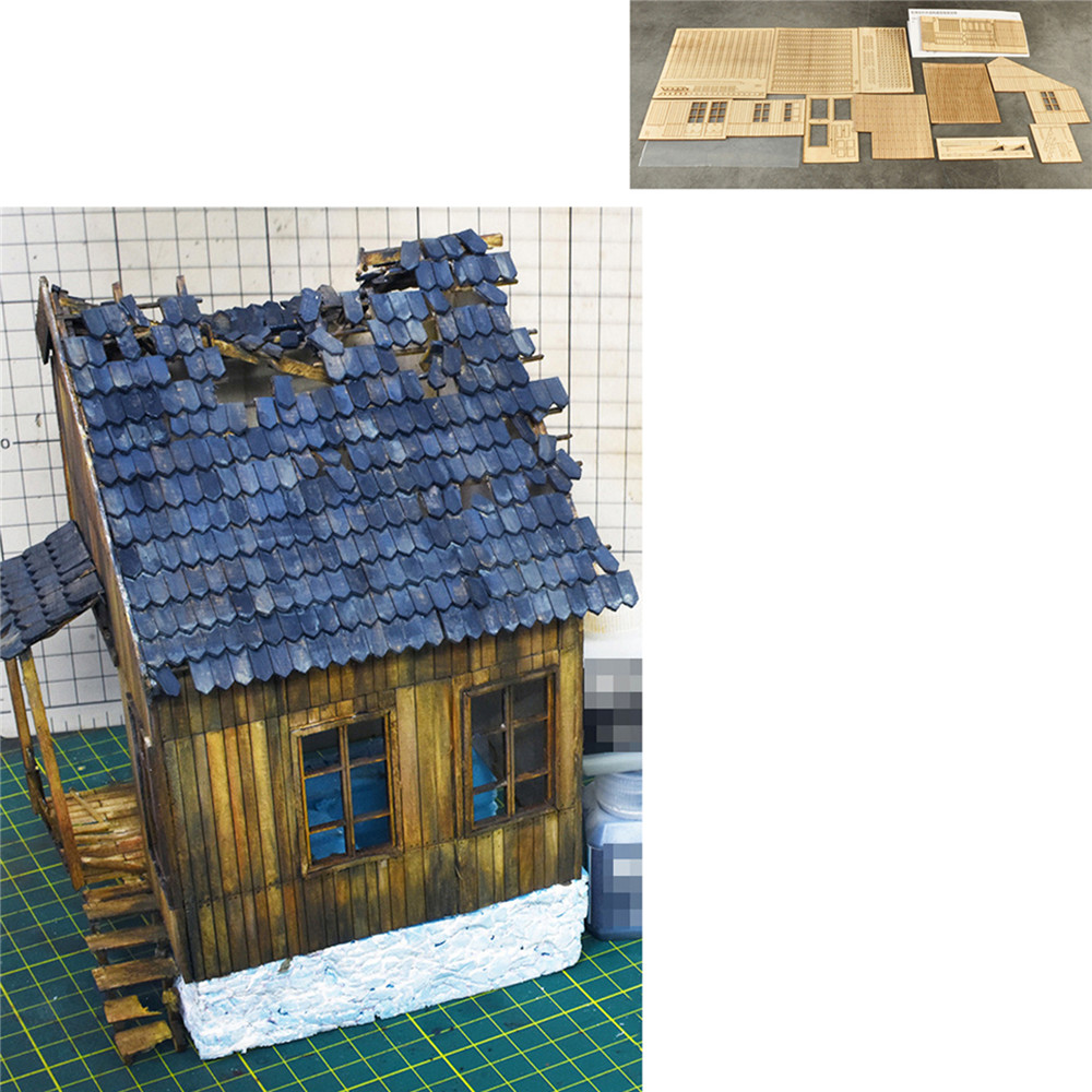 Scenario Military Building 1/35 Destroyed European Wooden House No.1 Model DIY Scenario Suite Wooden House Set