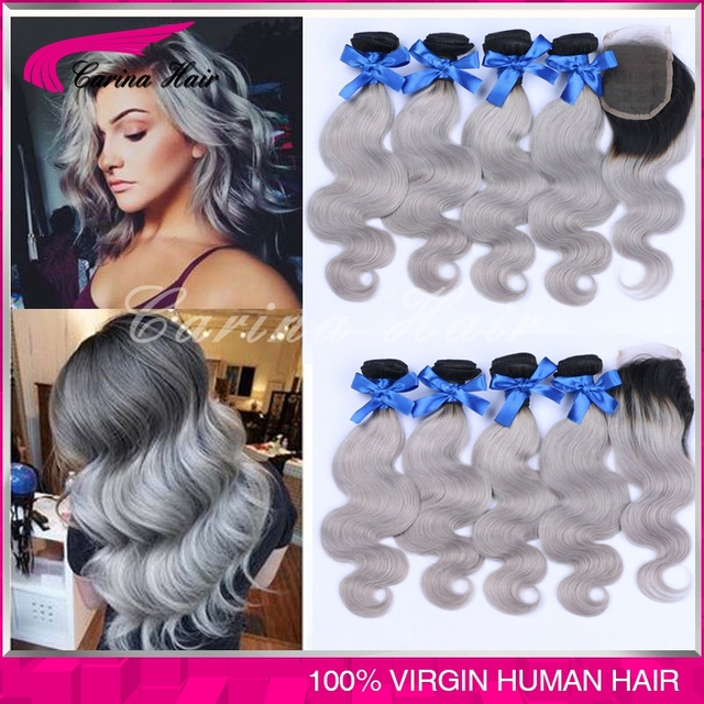 Brazilian Grey Hair Weaves 4 Bundles With Lace Closure Body Wave
