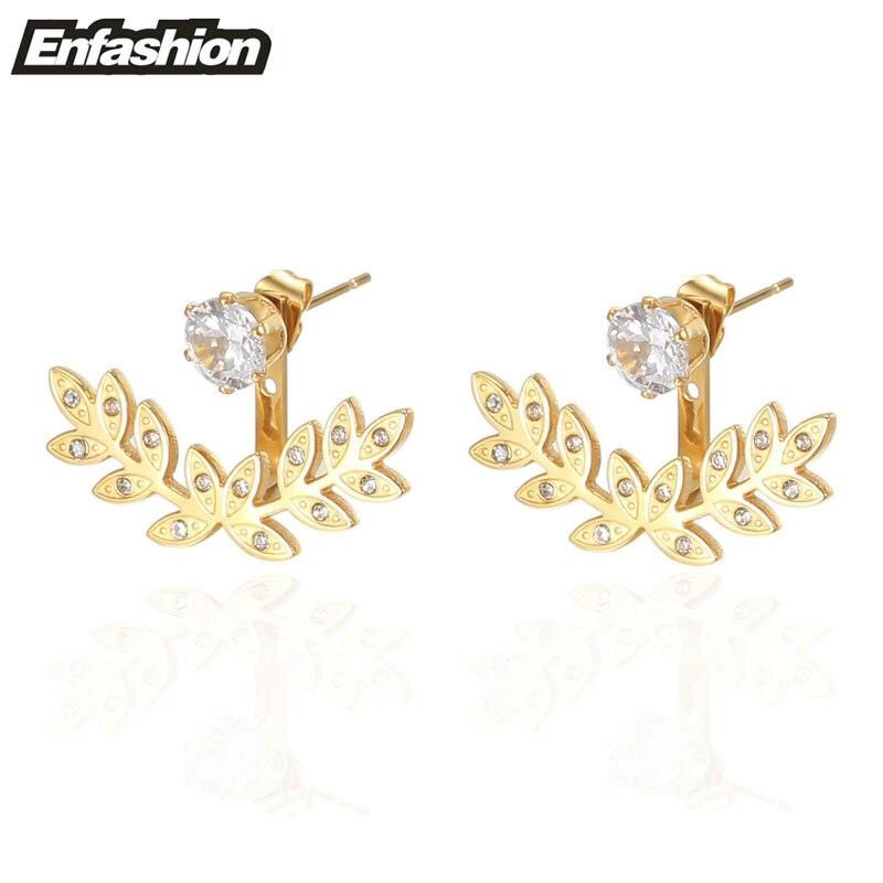 Enfashion Olive Branch Leaf Earrings Stud Earring Gold color Ear Jacket Earings Stainless Steel Earrings For