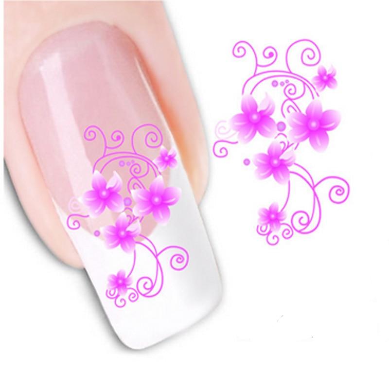 5Pcs Nail Art Designs Summer Nail Sticker New Flower DIY Nail Decals ...