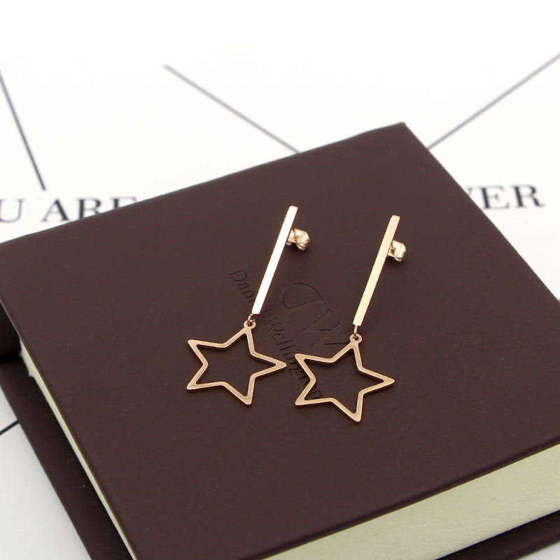 Silver/Gold Color Long Hollow out Big stars For Women Wedding Gift Earrings For Women stainless steel Jewelry fashion earring
