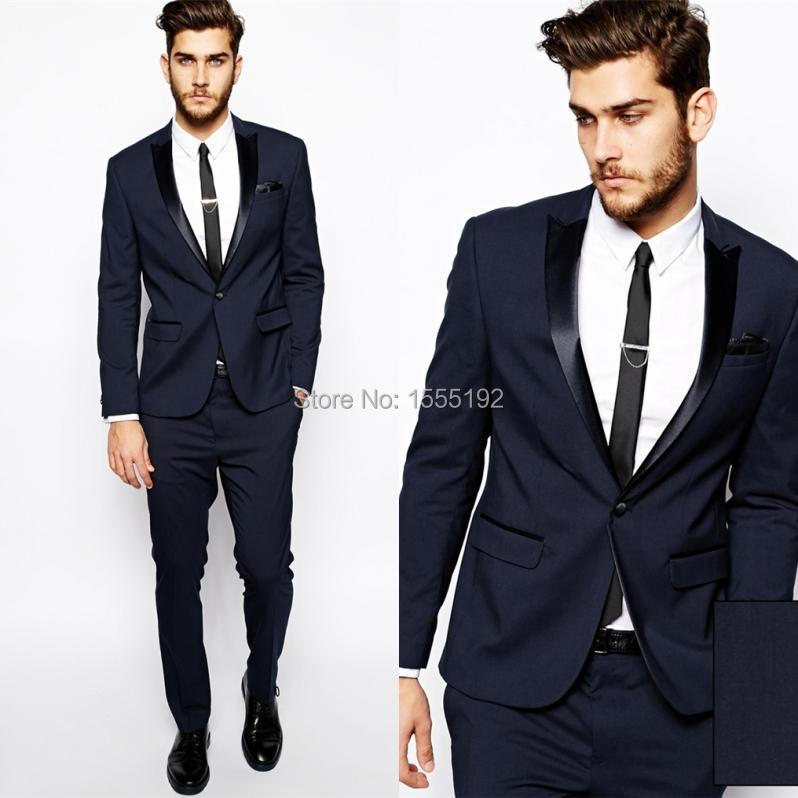 2017 Navy Custom Made Groom Tuxedos Business Suits Classic Natch ...