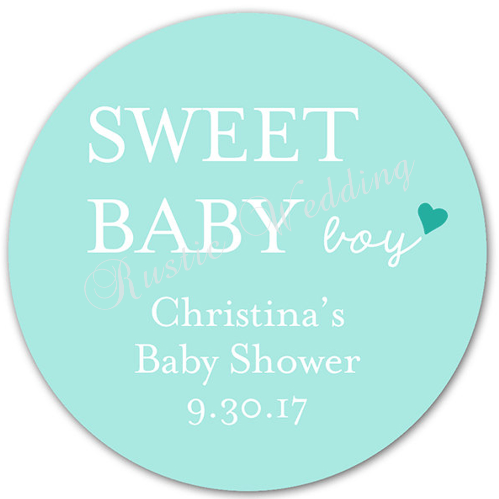 30 Blue Boy Baby Shower Favor Sticker Personalized